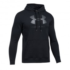 Under Armour - Rival Fleece Fitted Graphic Hoodie, musta